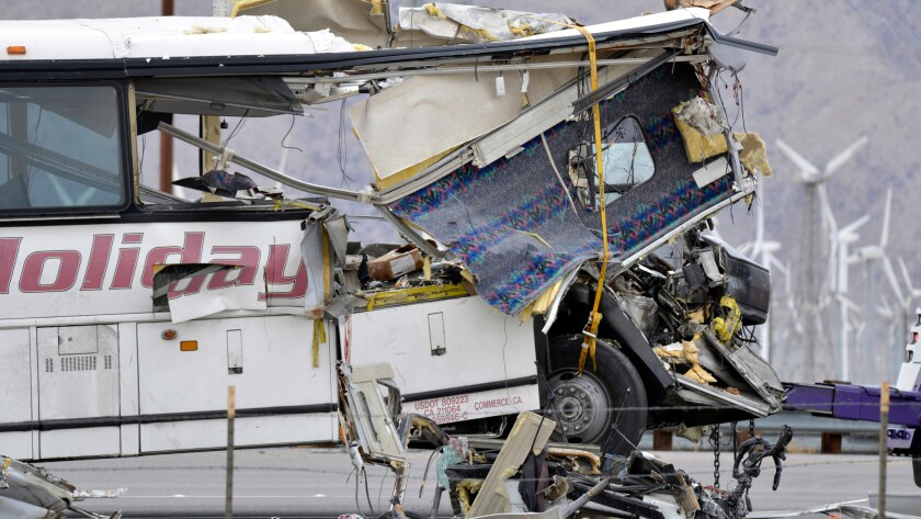 The tour bus that crashed into the back of a big-rig truck on Interstate 10 near Palm Springs on Sunday, killing 13.