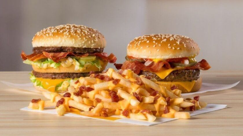 The Big Mac Bacon and Quarter Pounder Bacon will each feature three slabs of bacon. Cheesy Bacon Fries will be blanketed with cheddar cheese and smoked bacon bits.