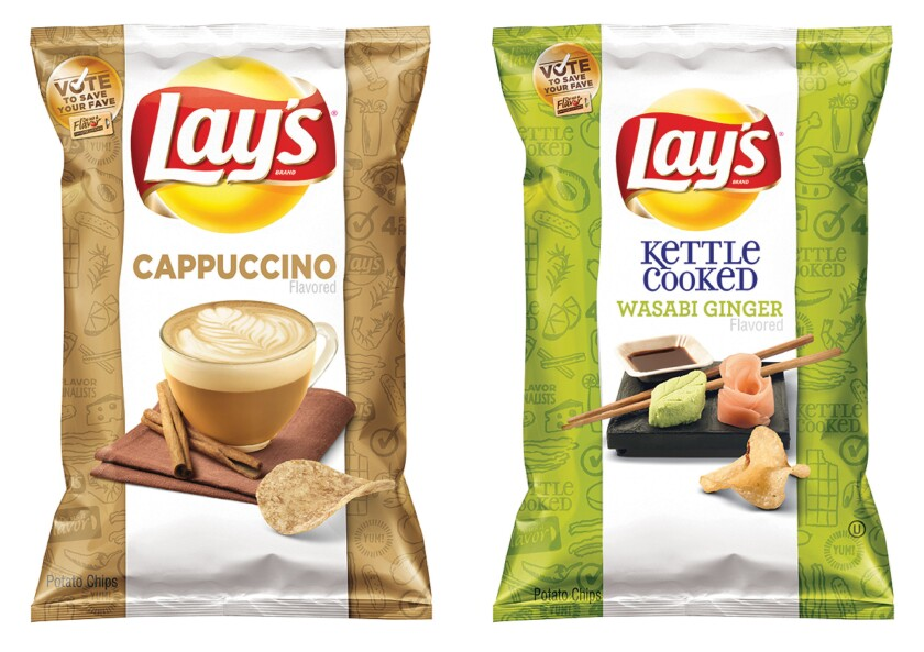 "Two of the four finalists for Frito-Lay's annual ""Do Us a Flavor"" contest in the U.S., which gives people a chance to create a new potato chip that is sold nationally and win $1 million. The finalists are Cappuccino, Wasabi Ginger, Bacon Mac & Cheese, and Mango Salsa."