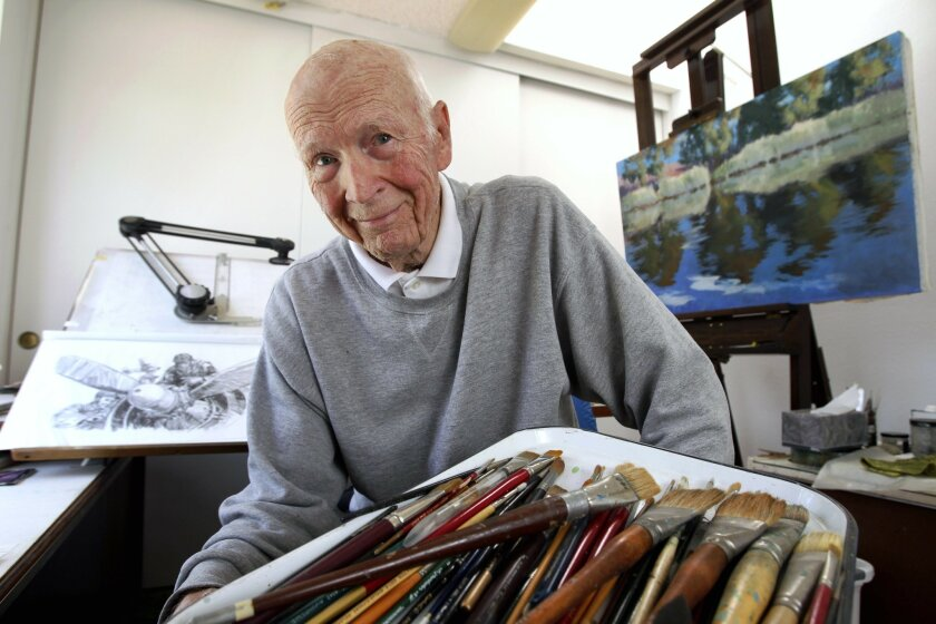 Artist Roy Gjertson in his studio at Scripps Ranch home in San Diego on Thursday.
