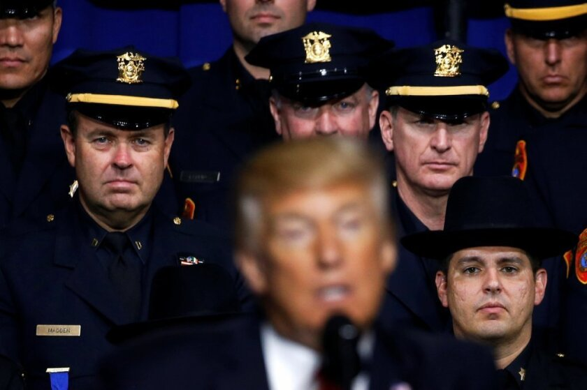 Trump police speech faces backlash
