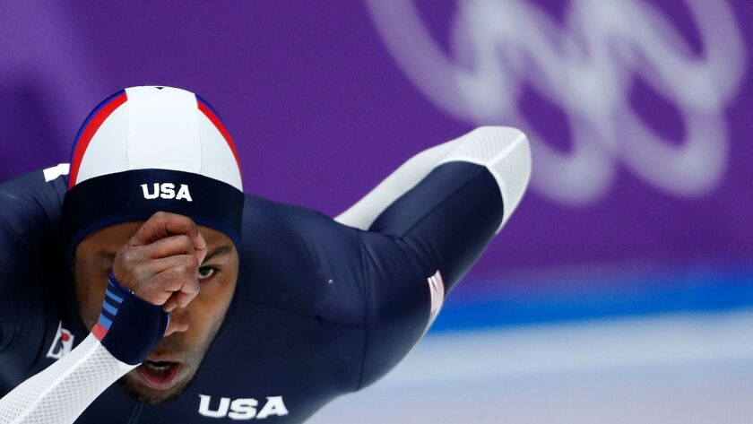 Shani Davis of the U.S. competes during the men's 1,500 meters speedskating race at the Gangneung Ov
