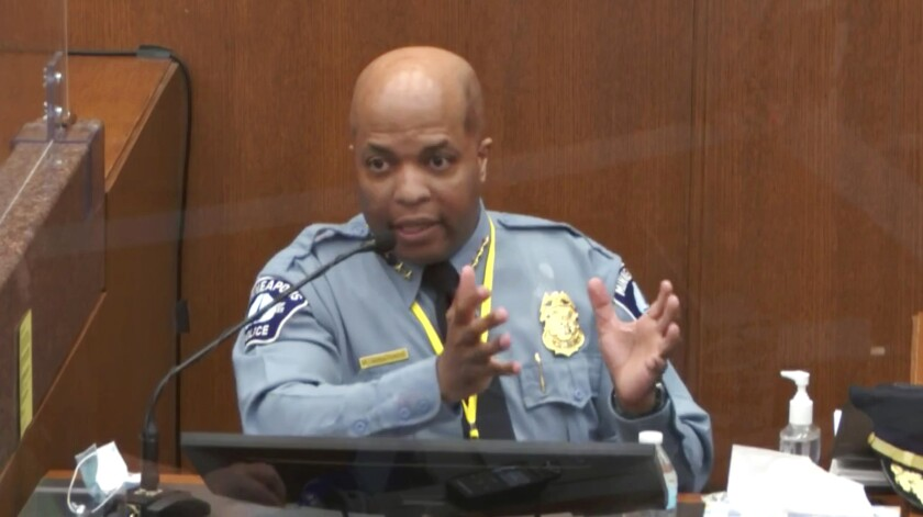 Minneapolis Police Chief Medaria Arradondo in uniform in the witness box