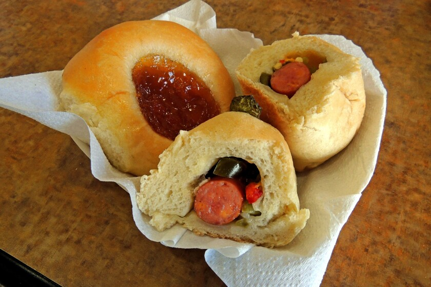 The Kolache Factory specializes in non-traditional combinations of fillings such as children enchilado ranchero and jalapeno poppers.
