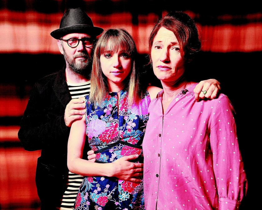 "Zoe Kazan (center), writer and star of ""Ruby Sparks,"" and directors Jonathan Dayton and Valerie Faris during a recent visit to the W hotel in downtown San Diego. John Gastaldo U-T"