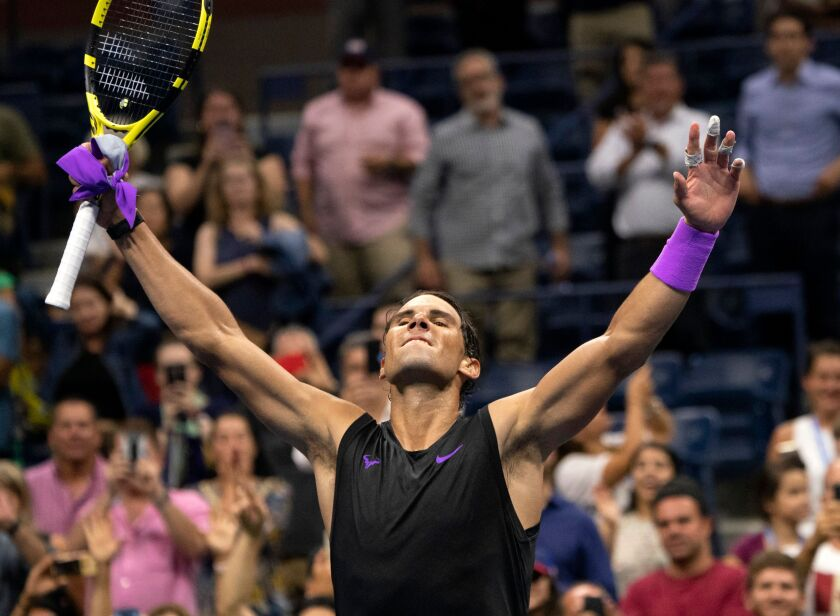 Rafael Nadal celebrates his victorry over Diego Schwartzman during their U.S. Open quarterfinal match in New York on Wednesday.