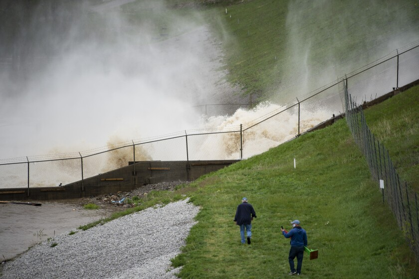 A dam on Wixom Lake in Edenville, Mich., on Tuesday.