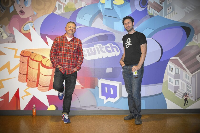 Twitch executives Emmet Shear, left, and Jonathan Simpson-Bint at the San Francisco company's offices.