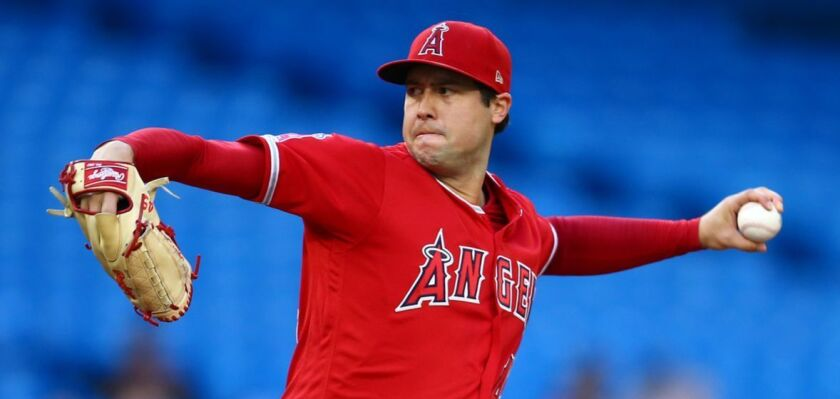 Angels starter Tyler Skaggs delivers against the Toronto Blue Jays on June 18.