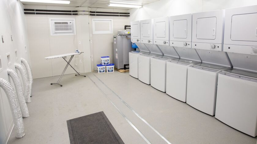 Onsite laundry is availble at the Anaheim emergency shelter at 1340 S. Lewis Street.