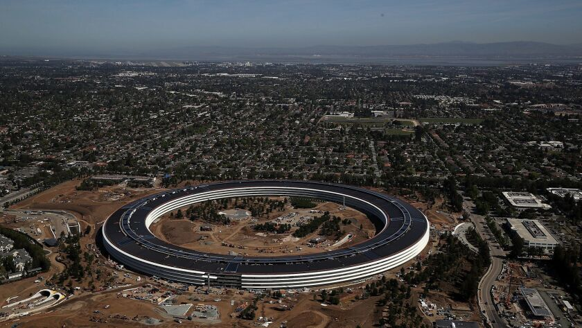 An aerial view of the new Apple headquarters in Cupertino, Calif., in late April.