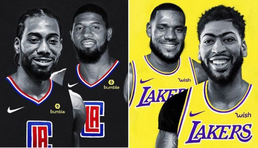 The new superstar duos — Kawhi Leonard and Paul George, left, with the Clippers and LeBron James and Anthony Davis with the Lakers — begin their battle for L.A. on Tuesday.