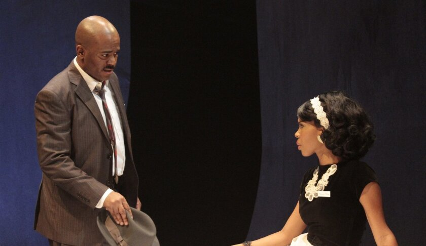 "Larry Bates and Danielle Moné Truitt in San Diego Repertory Theatre's ""The Mountaintop."""