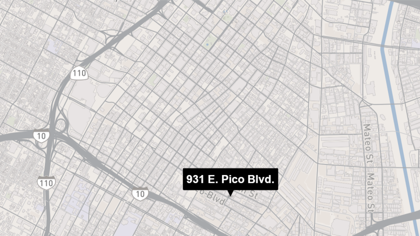 Map shows approximate location of 931 E. Pico Blvd.