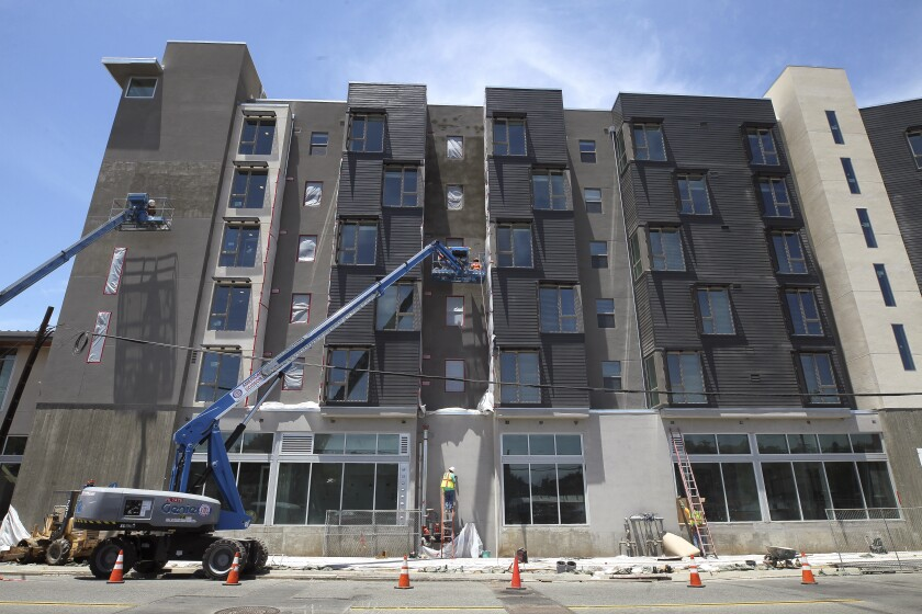 The Stella, an 85-unit building for homeless veterans, is currently under construction in the Grantville neighborhood.