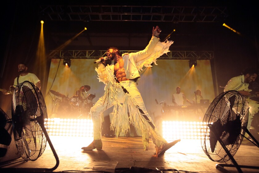 Miguel performs at the Hollywood Forever Cemetery.
