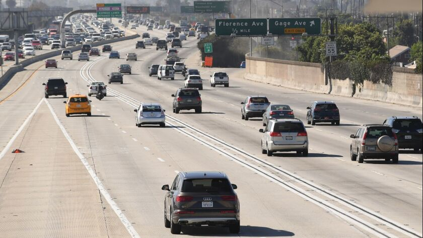 LOS ANGELES, SEPTEMBER 18, 2018-A view of the 110 freeway looking southbound from Slauson Ave. in Lo