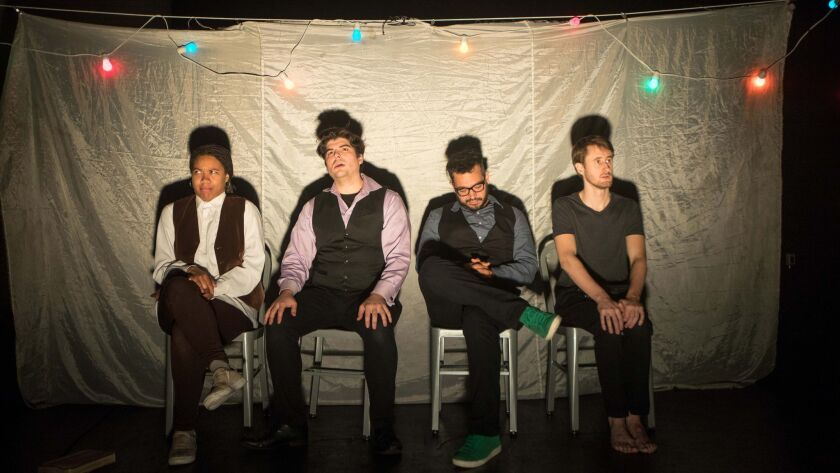 """Four valiant Bedlam actors — from left, Aundria Brown, Sam Massaro, Kahlil Garcia and Aubie Merrylees — perform all the characters in """"Hamlet"""" and George Bernard Shaw's """"Saint John"""" in dual productions playing in repertory."""