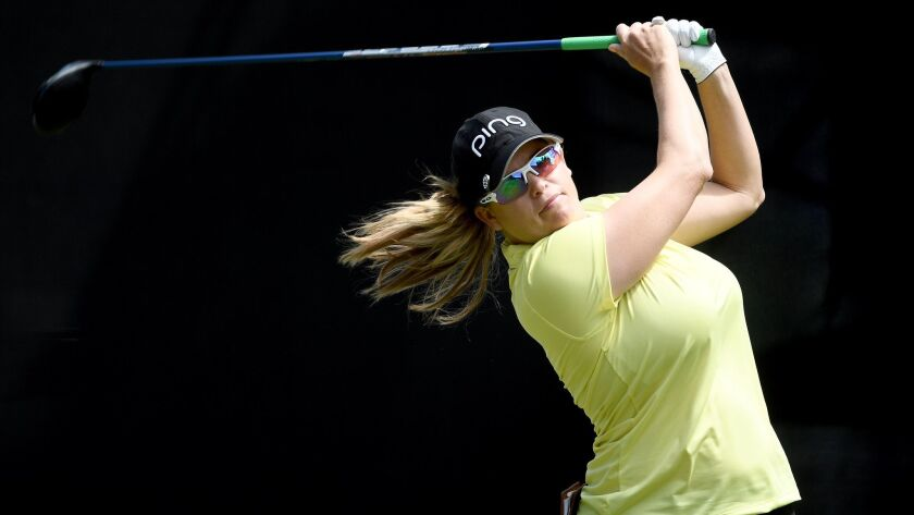 CARLSBAD, CA - MARCH 25: Jackie Stoelting tees off the 1st hole during Round Three of the KIA Clas