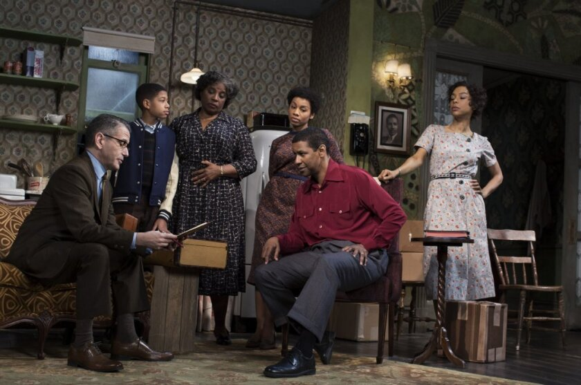 "Denzel Washington and cast in the 2014 Broadway revival of ""A Raisin in the Sun"""