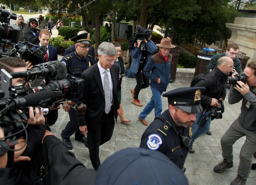 William B. Taylor Jr., the top U.S. diplomat in Ukraine, arrives for a deposition in the impeachment inquiry in October.