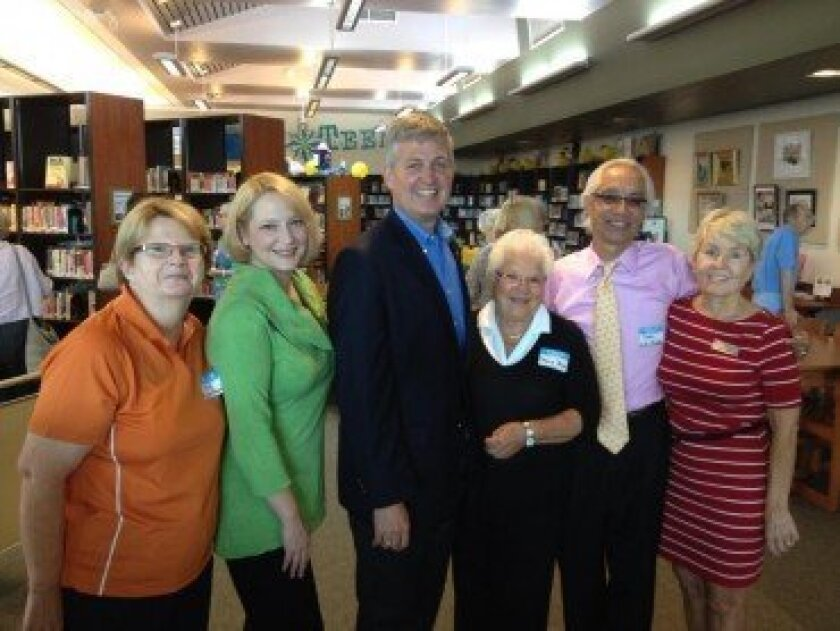 Ann Welton, president, Friends of the Solana Beach Library; Sheila Crosby, branch manager, Solana Beach Library; Dave Roberts, San Diego County supervisor; Mary Jane Boyd, former president, Friends of the Solana Beach Library; Jose Aponte, director, San Diego County Library; Joani Kerr, assistant branch manager, Solana Beach Library.