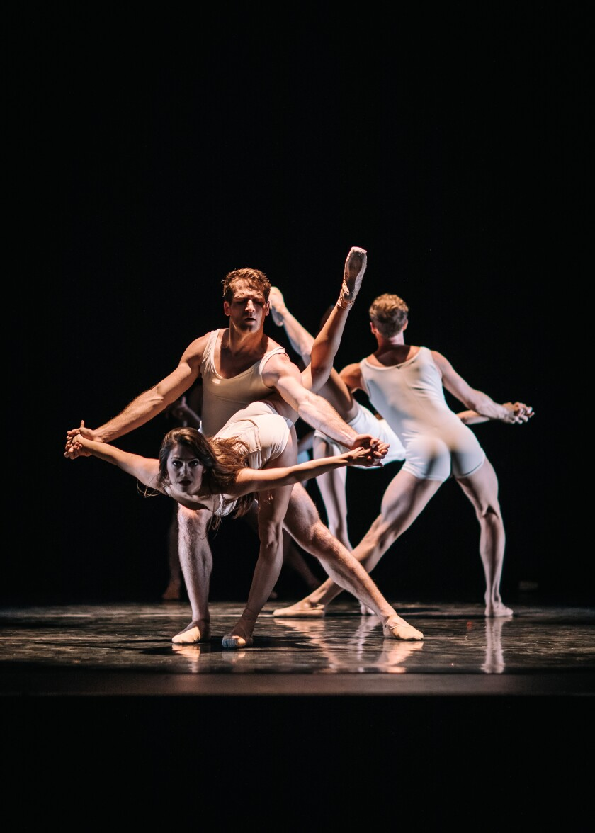 California Ballet Principal Preston Swovelin and Soloist Tiffany Smith (both front) in Septime Webre's Fluctuating Hemlines, from The Rock + Blues Project