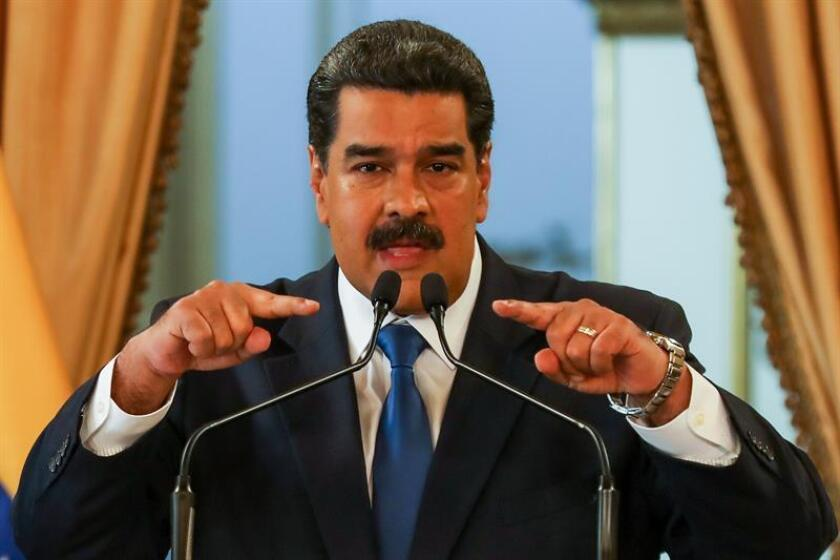 Venezuelan President Nicolas Maduro speaks during a press conference at the Miraflores presidential palace in Caracas, Venezuela, on Feb. 8, 2019. Maduro said he would be willing to meet with envoys of a European Union-backed contact group that is seeking to resolve the Venezuelan crisis through free and transparent presidential elections in the crisis-racked country. EPA-EFE/Cristian Hernandez