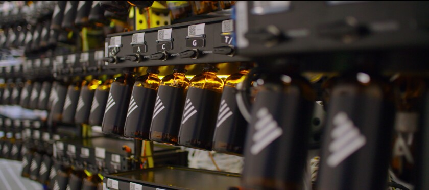 Bottles of nucleic acids at Synthego, a company which synthesizes the key components of CRISPR at an industrial scale, in the documentary 'Human Nature'
