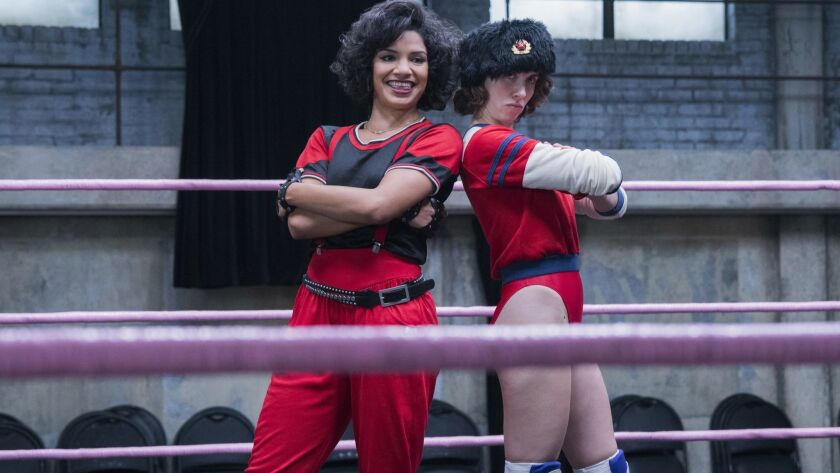 """Shakira Barrera (left) and Alison Brie co-star in the second season of """"GLOW,"""" the Netflix comedy about the women who become the Gorgeous Ladies of Wrestling."""