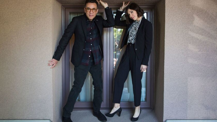 """Fred Armisen and Carrie Brownstein of """"Portlandia"""" at the Langham Hotel in Pasadena."""
