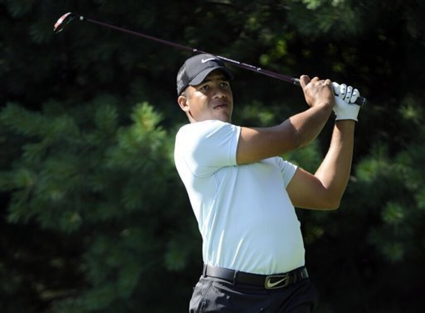 Jhonattan Vegas, of Venezuela,  tees off on the 13th hole during round one of the AT&T National golf tournament at Aronimink Golf Club, Thursday, June 30, 2011, in Newtown Square, Pa. (AP Photo/Barbara Johnston)