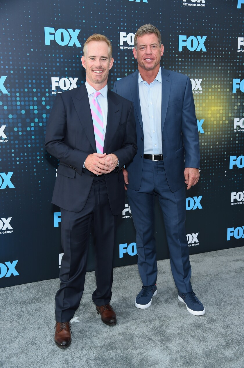 Joe Buck (left) and Troy Aikman are Fox's broadcast team for the upcoming Super Bowl.