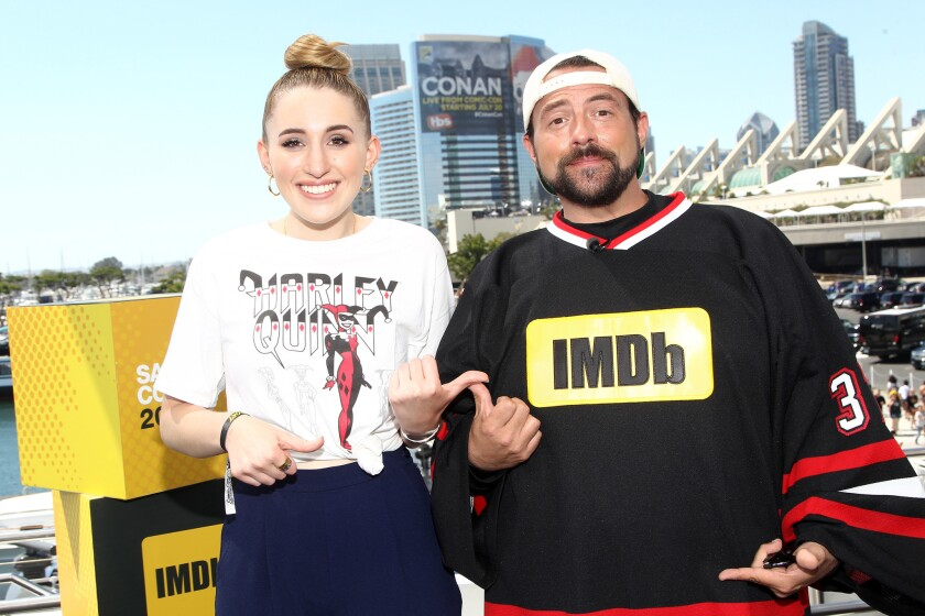 Harley Quinn Smith, with her father Kevin Smith at Comic-con International 2016.