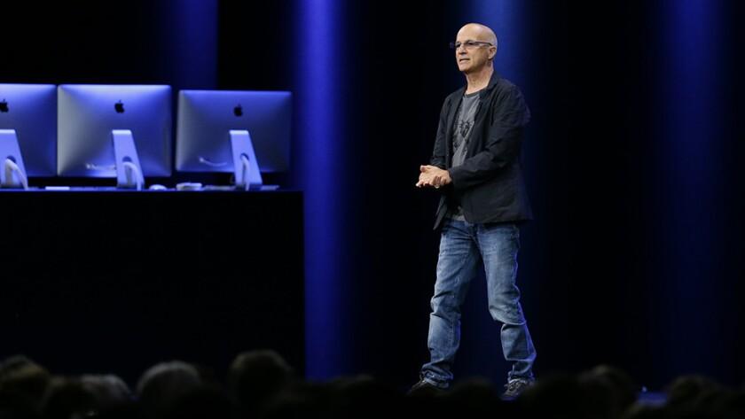Music mogul Jimmy Iovine announces Apple's new streaming music service, Apple Music, on Monday.