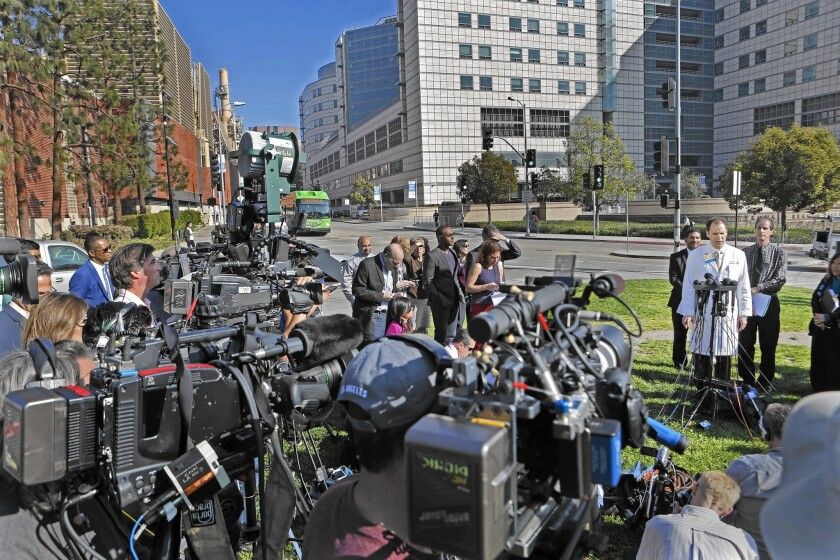 Medical experts, health officials, lawmakers and patients' families are pinning much of the blame for the UCLA superbug outbreak and others across the country on Olympus Corp. and its gastrointestinal endoscopes. Above, a news conference outside UCLA Ronald Reagan Medical Center.