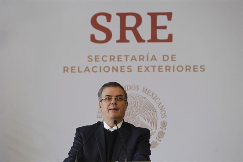 El canciller de México, Marcelo Ebrard, ofrece una rueda de prensa en la Secretaria de Relaciones Exteriores (SRE), en Ciudad de México (México). EFE/Archivo