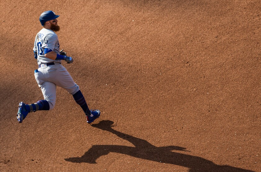 Dodgers third baseman Justin Turner runs the bases during a game against the Washington Nationals on July 27.