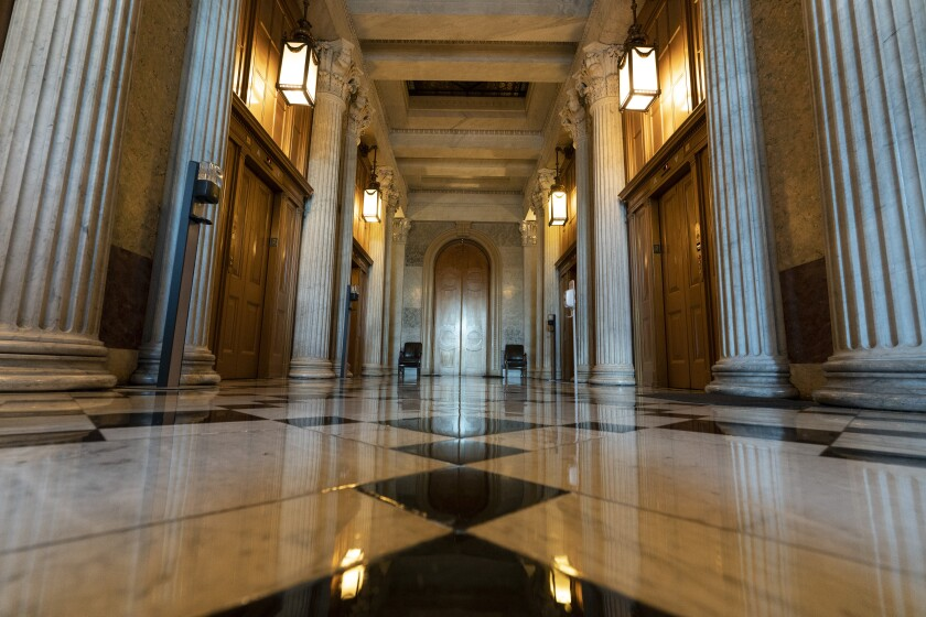 The halls of the Capitol outside the Senate in Washington.
