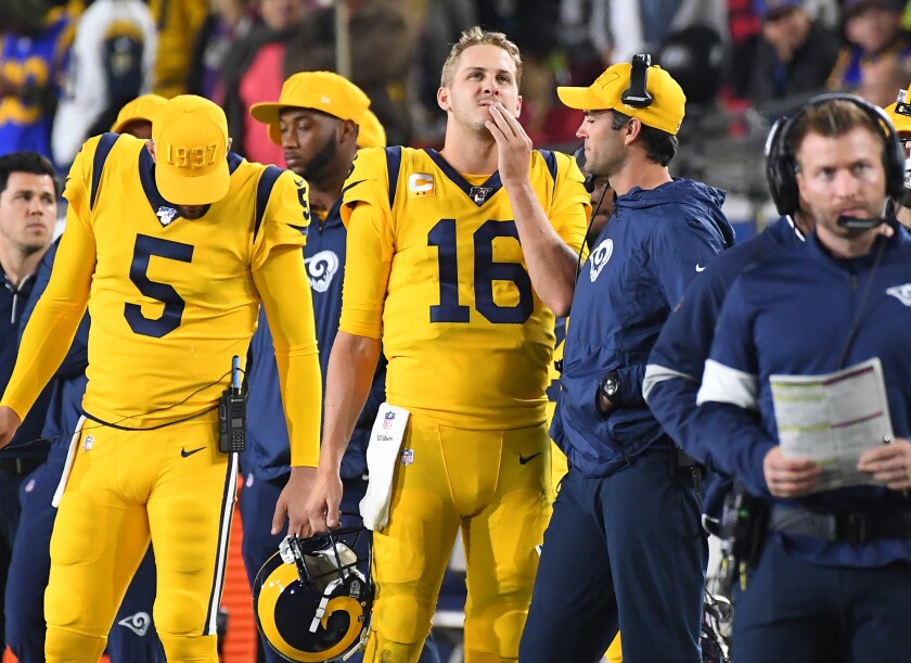 Rams quarterback Jared Goff looks on from the sideline duirng the fourth quarter of the 45-6 loss to  the Ravens at the Coliseum.