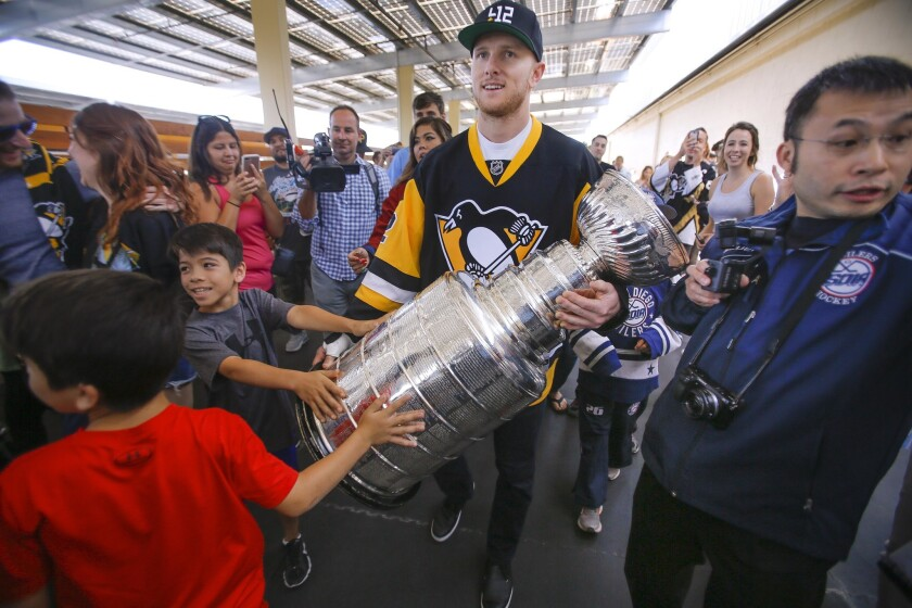 On June 30, 2017, Chad Ruhwedel, a defenseman for the Stanley Cup winning Pittsburgh Penguins, who grew up San Diego, carried the Stanley Cup through a crowd of fans who came to see him and the cup at the San Diego Ice Arena in Mira Mesa where he played youth hockey.