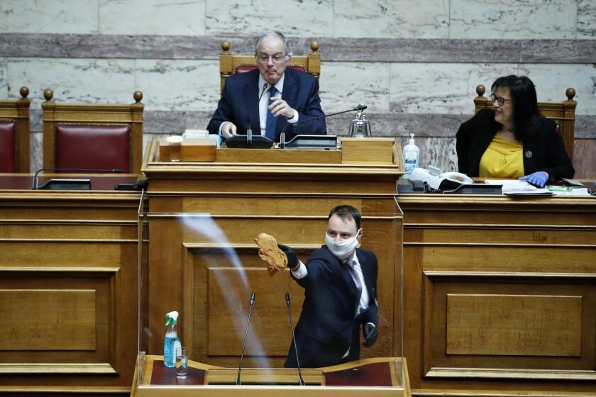 Virus Outbreak Plexiglass Parliament
