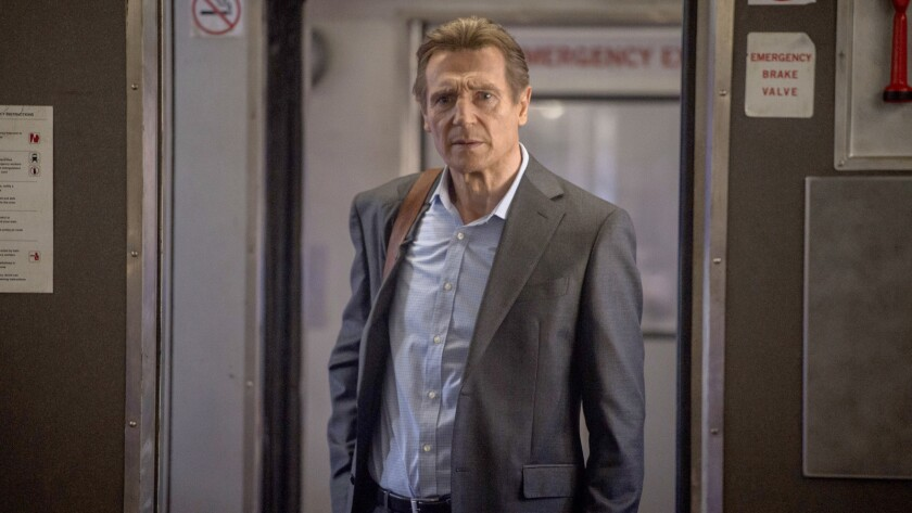 """This image released by Lionsgate shows Liam Neeson in a scene from """"The Commuter."""" (Ollie Upton/Lion"""
