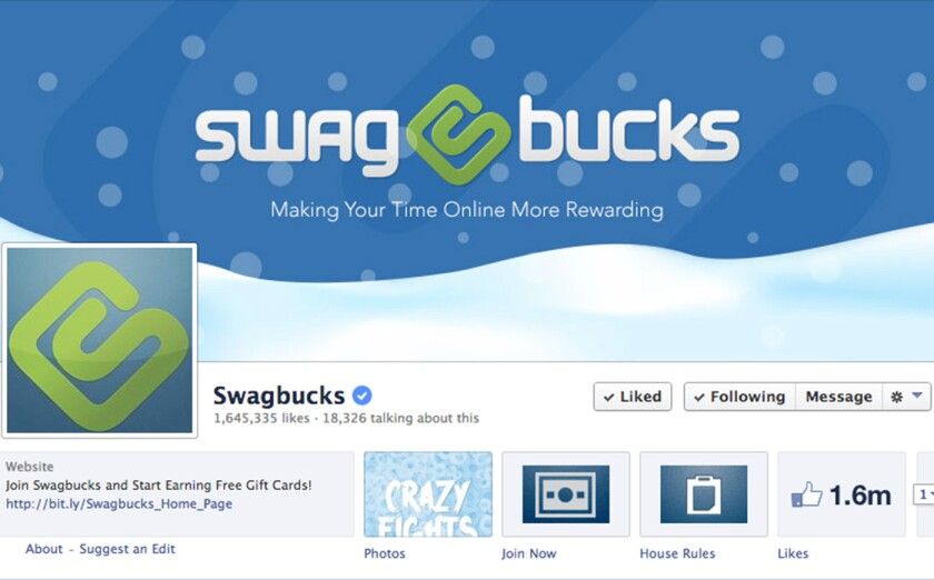 A screen shot of Swagbucks' Facebook page.