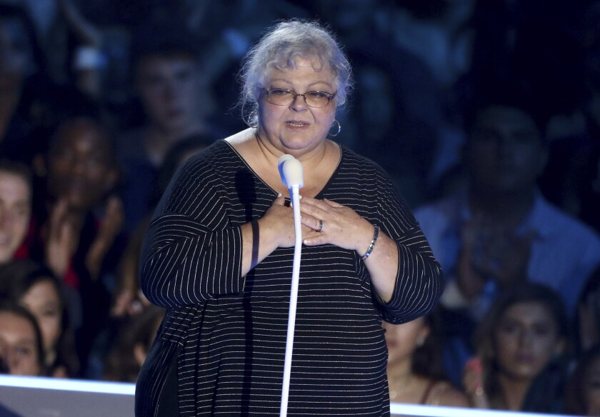 Susan Bro, mother of Heather Heyer, speaks at the MTV Video Music Awards at The Forum.