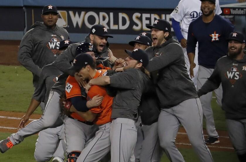 The Houston Astros celebrate winning the World Series.
