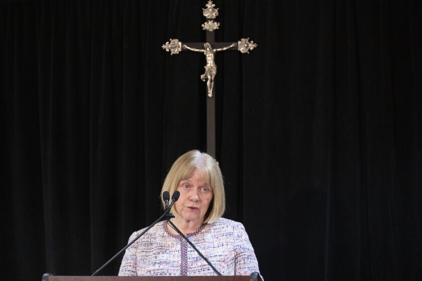 Judge Barbara Jones speaks during a news conference, Monday, Sept. 30, 2019 in New York. She made a year-long review of the policies and procedures for responding to allegations of sexual abuse within the New York archdiocese. (AP Photo/Mark Lennihan)