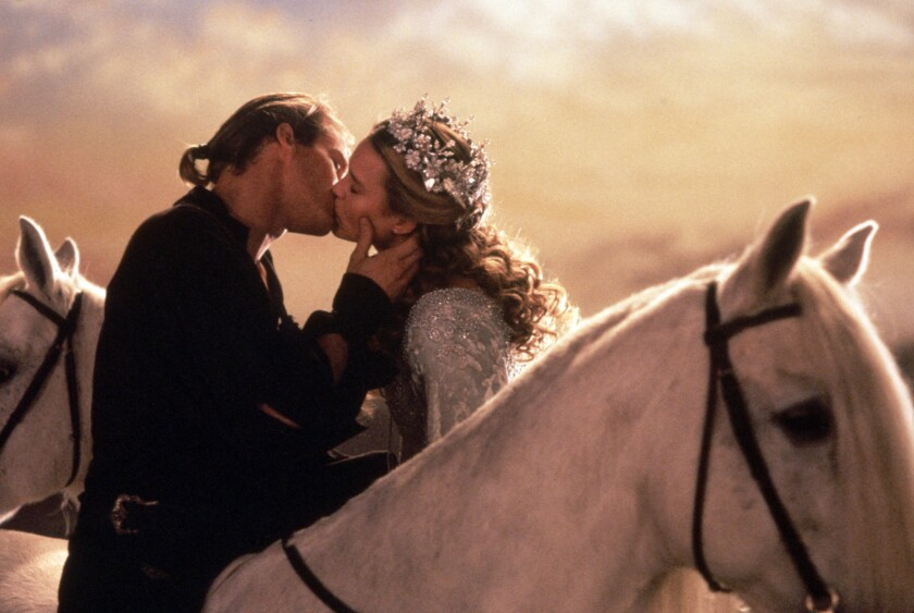 """Cary Elwes and Robin Wright  kiss in """"The Princess Bride"""""""