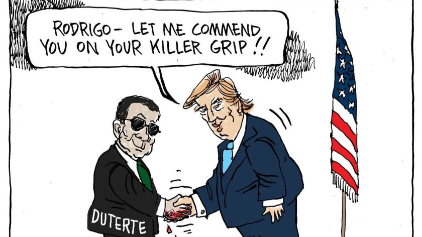 Dan Wasserman's editorial cartoon on Trump's invitation to Rodrigo Duterte, president of the Philipp