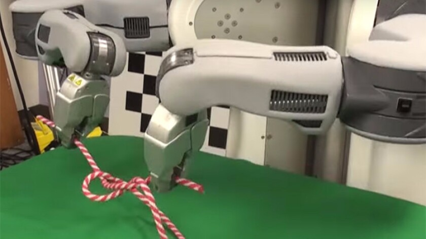BRETT, the Berkeley Robot for the Elimination of Tedious Tasks, ties a knot after watching others demonstrate it. USC and UC Berkeley have announced separate centers on artificial intelligence.
